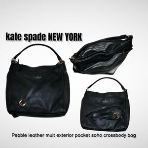 kate spade NEW YORK thick black pebble leather hobo soho crossbody satchel bag